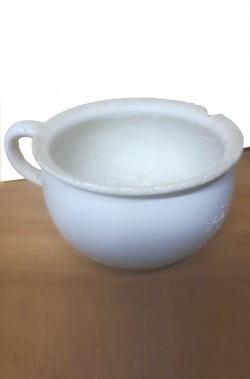 Pitale d'epoca bianco vaso da notte vintage