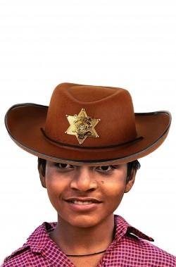 Cappello Cowboy marrone con stella da sceriffo