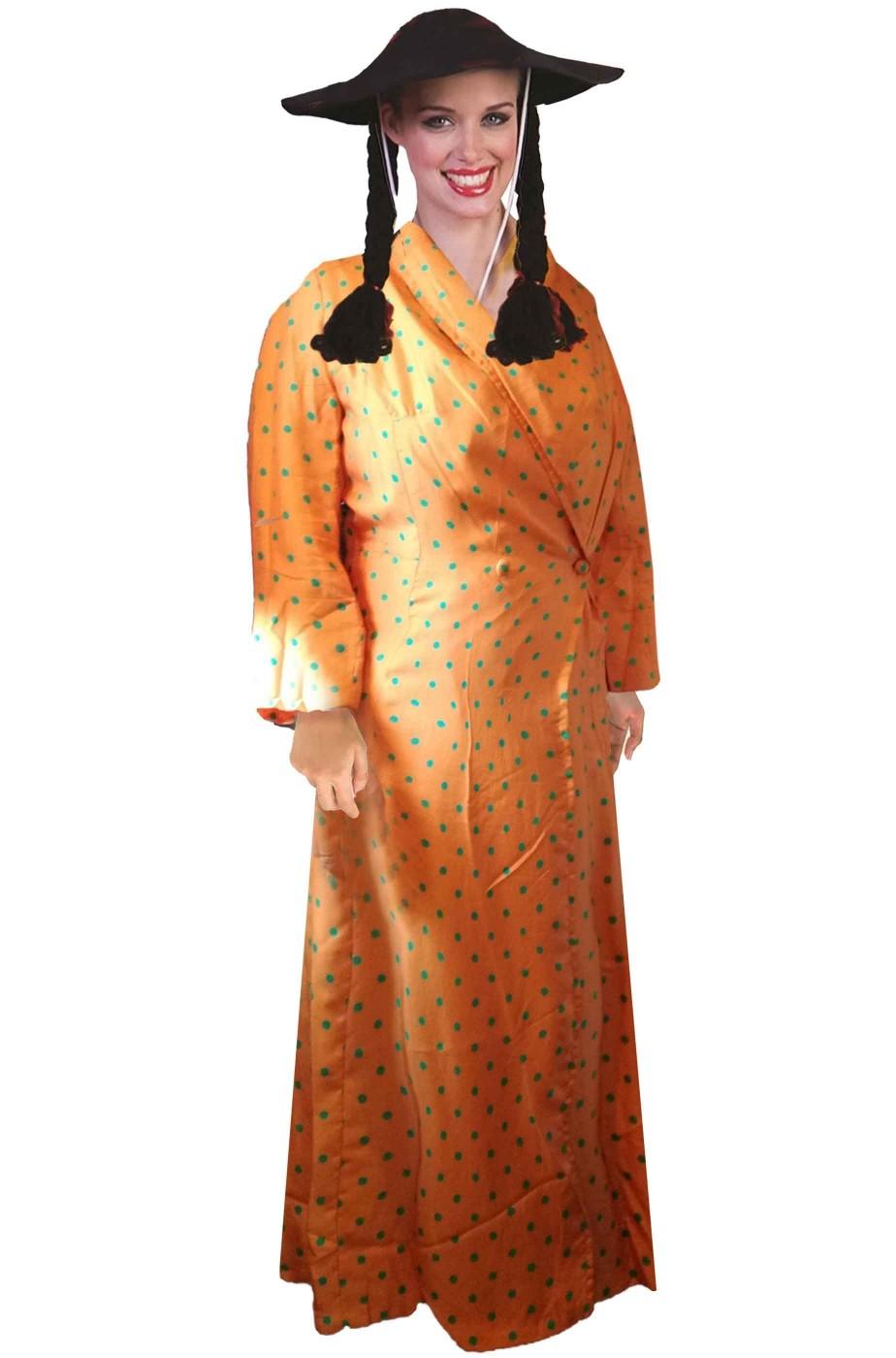 Vestito di carnevale da cinese arancione di seta