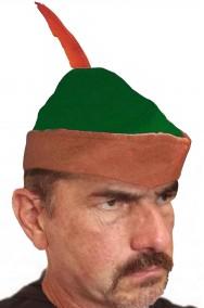 Cappello verde e marrone con penna Robin Hood o Peter Pan