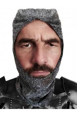 Cappello di finta cotta di maglia da guerriero medievale sottoelno