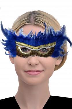 Maschera di carnevale veneziano blu con piume