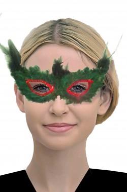 maschera di carnevale veneziano verde di piume