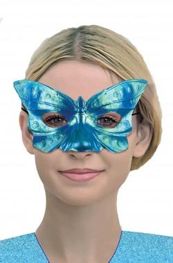 Maschera di carnevale veneziano azzurra riflettente
