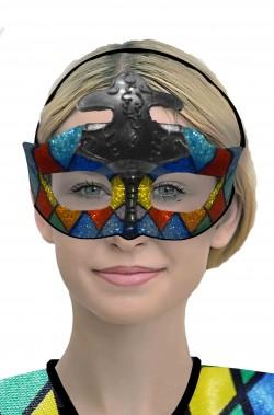 Maschera di carnevale da arlecchino arcobaleno