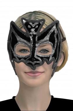 Maschera da pipistrello nera e argento