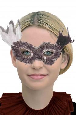Maschera di carnevale stile veneziano di piume tortora