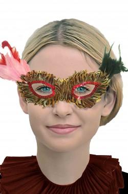 maschera stile veneziano con piume color tortora e rosa