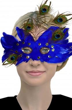 Maschera da pavone con piume blu stile barocco