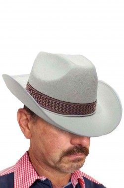 Cappello cowboy adulto bianco floccato