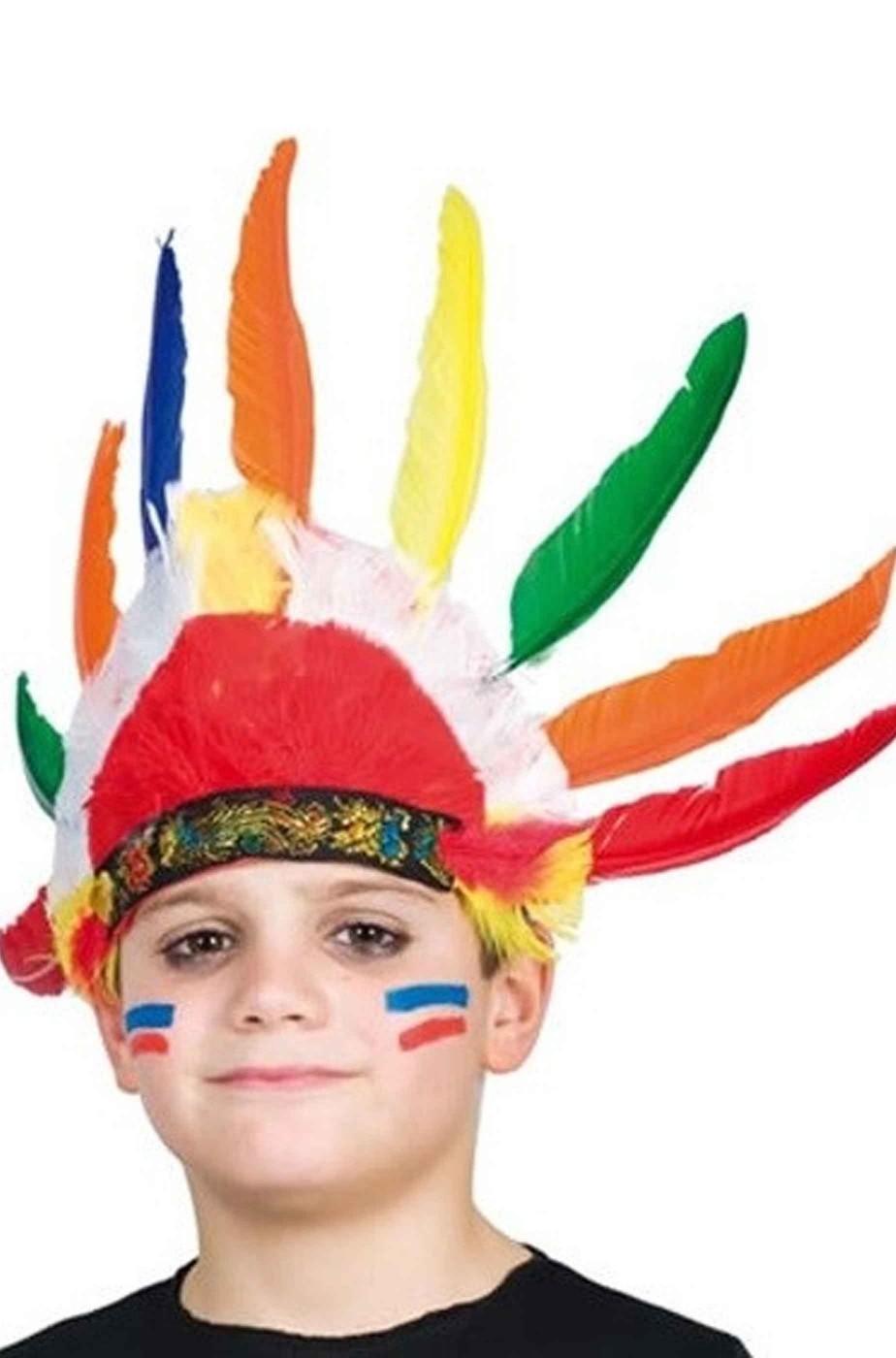 Copricapo indiano pellerossa bambino con 9 piume