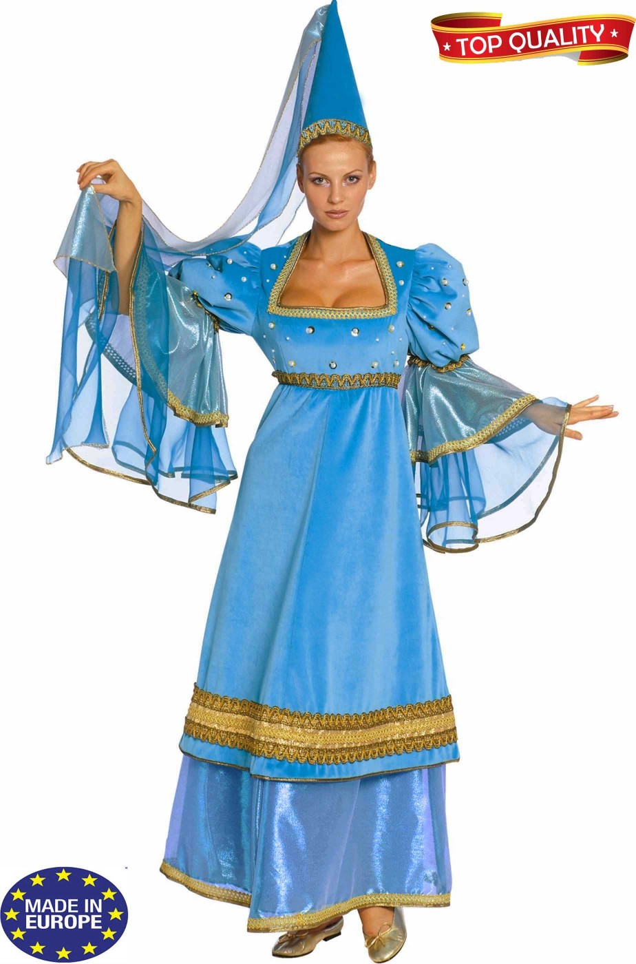 Vestito fata turchina o dama nobildonna medievale