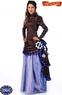 Vestito dama vittoriana steampunk gonna lunga marrone e lilla