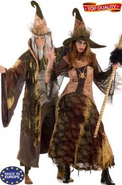 Coppia di vestiti di carnevale mago e strega