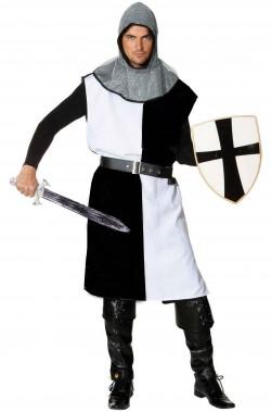 Tunica medievale a quarti bianchi e neri a tabarda