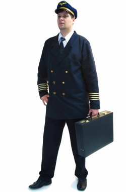 Vestito di carnevale uniforme da pilota di linea