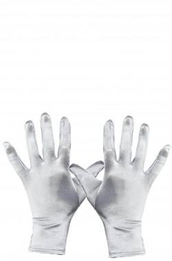 Guanti color argento adulto