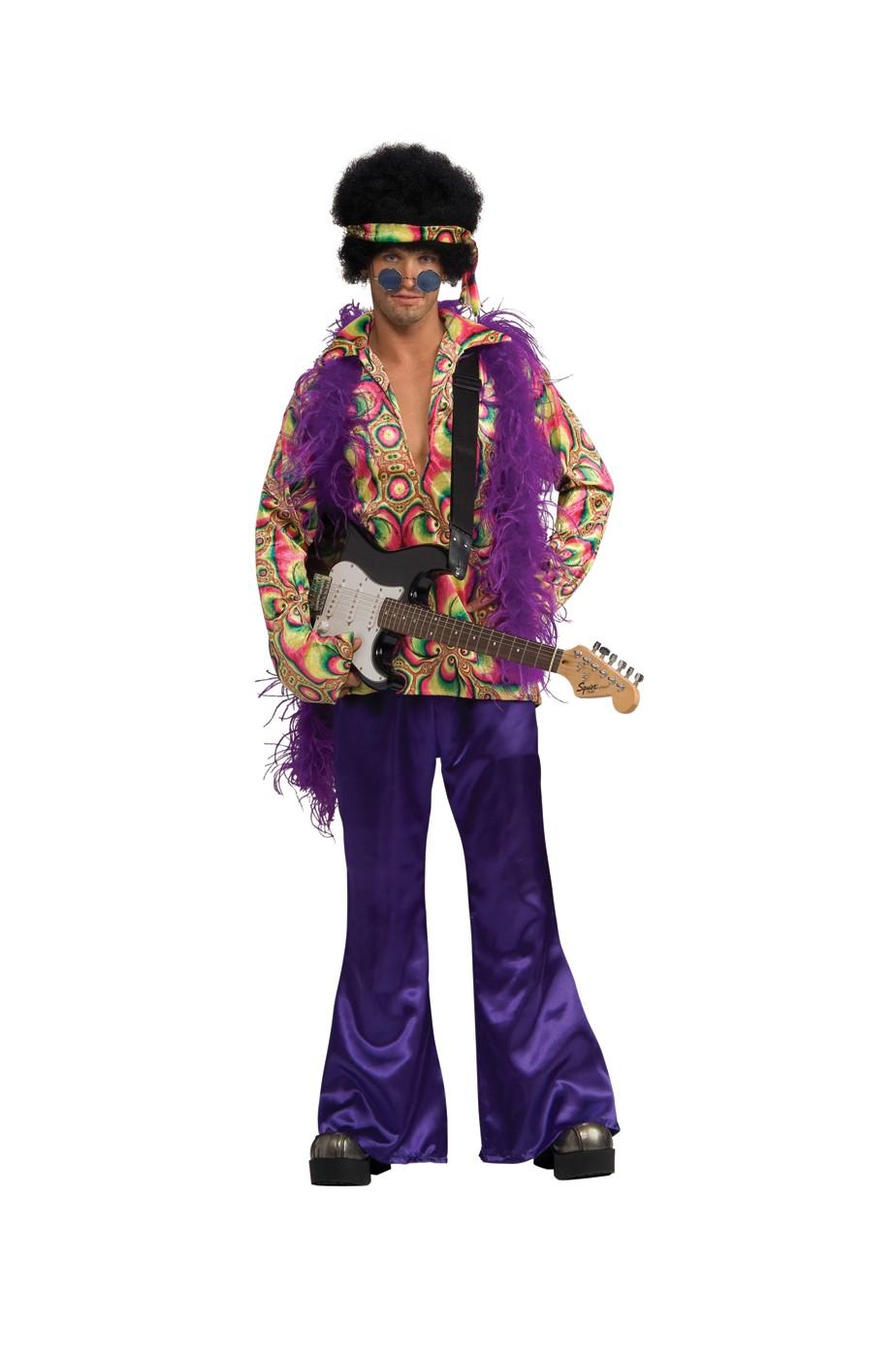 best website 1c6df ace97 Vestito di Carnevale da vero hippie anni 70 multicolore fluo viola