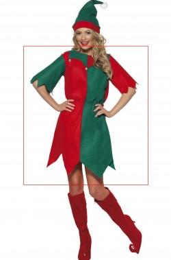 Tunica per vestito da Elfo di Babbo Natale rosso e verde