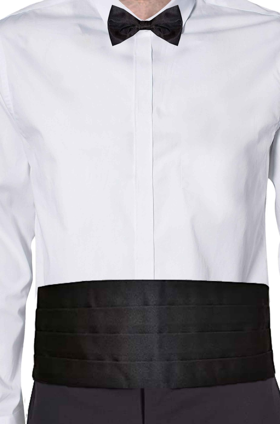 Fascia a fusciacca da smoking nera e cravattino