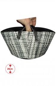 borsetta a tamburello cestino bianca e nera