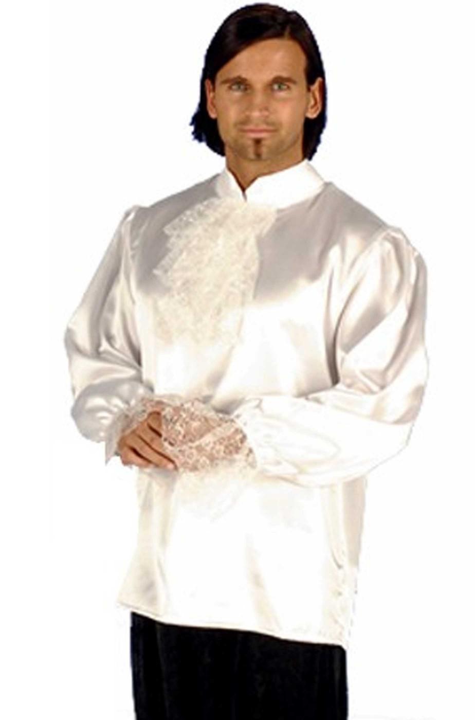 Camicia bianca di raso con rouche e pizzo stile 700 vampiro