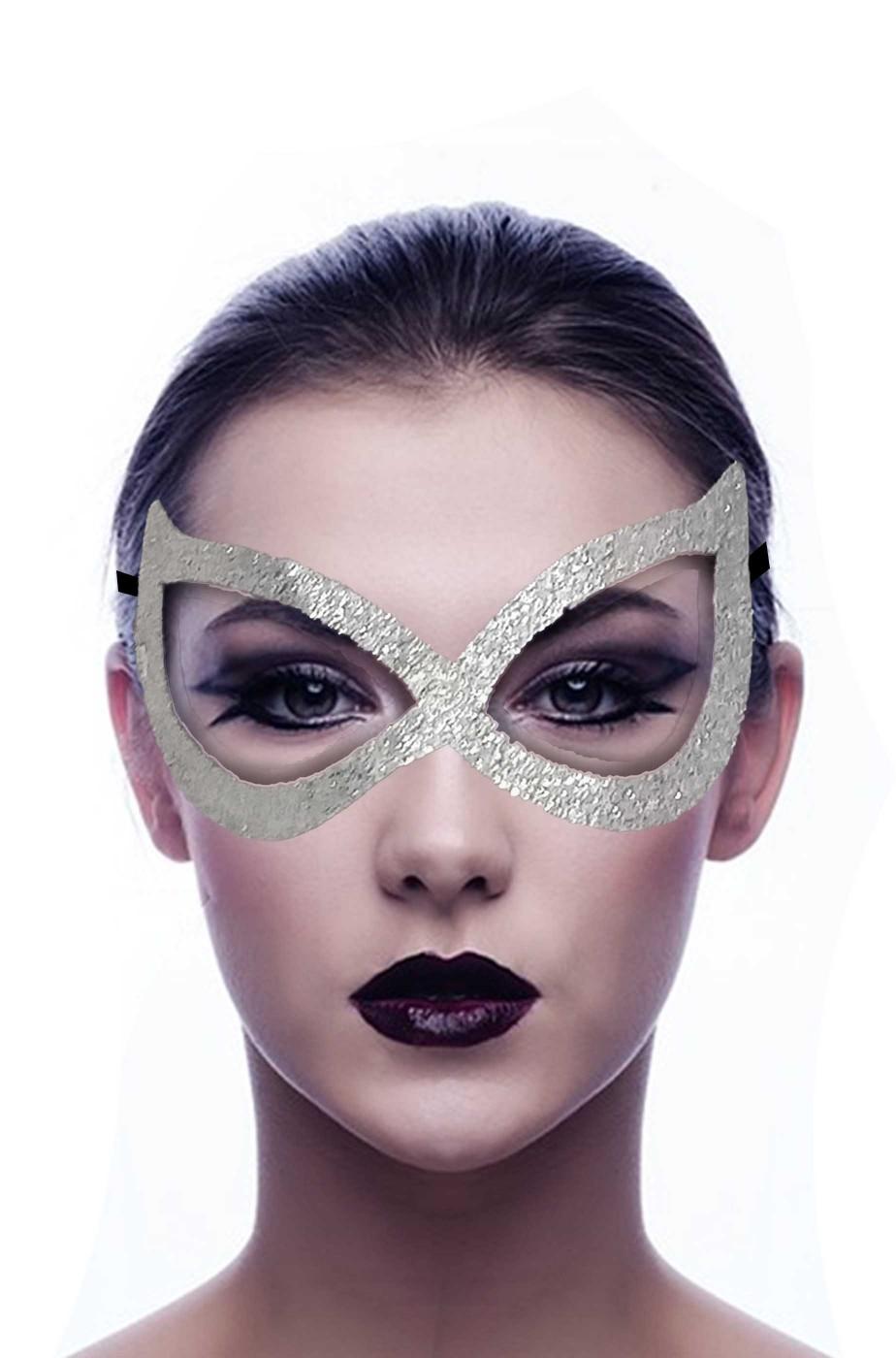 maschera di carnevale color argento da occhi