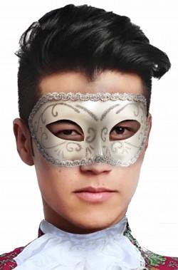 Maschera carnevale veneziano bianca e argento