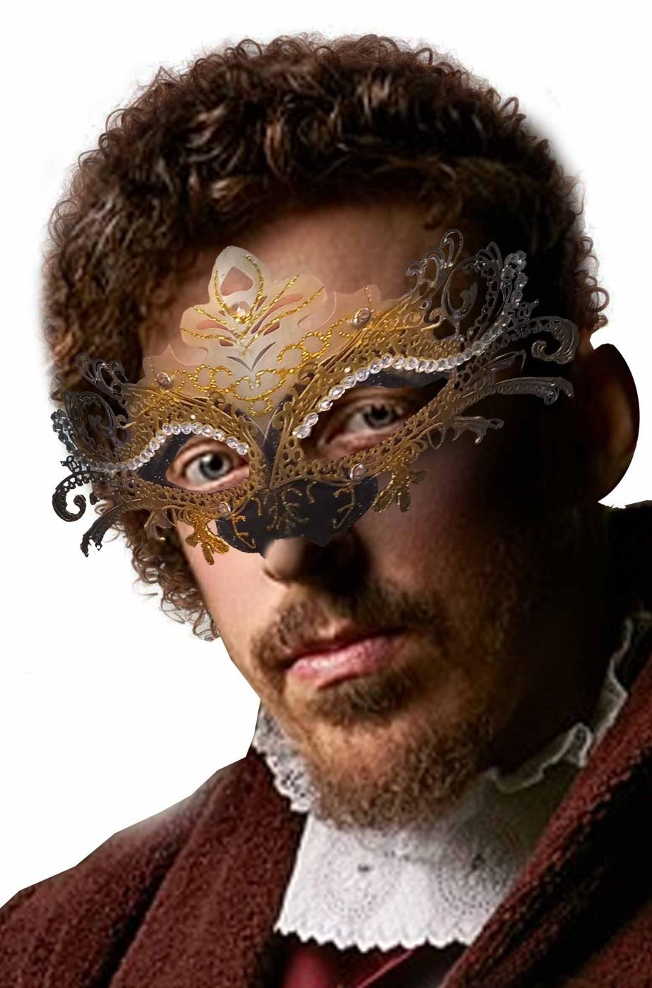 Maschera carnevale veneziano nera e oro con pietre finte