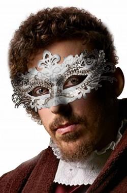 Maschera di carnevale veneziano bianca e argento
