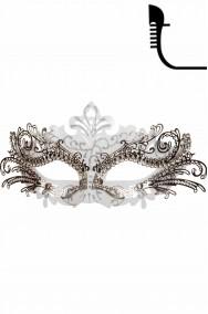 Maschera di carnevale stile veneziano in metallo bianca ed argento
