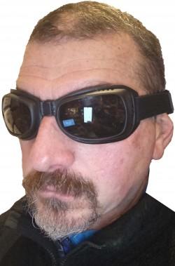 Occhiali neri moto biker Eagle 2 con fascia