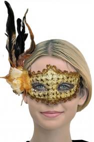 Maschera veneziana donna dorata con piume e fiocco