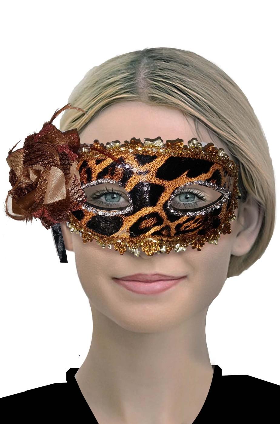 Maschera carnevale veneziano leopardata con fiocco e piume