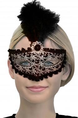 Maschera carnevale veneziano bianca e nera con piuma