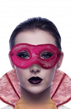 Maschera carnevale veneziano rosa macrame'