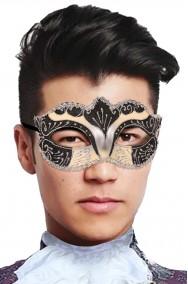Maschera carnevale veneziano beige nera e argento