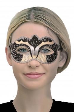 Maschera veneziana beige nera argento
