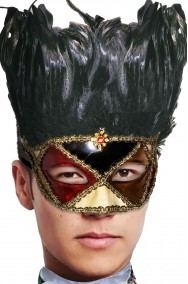 Maschera carnevale veneziano rossa e nera con piumaggio