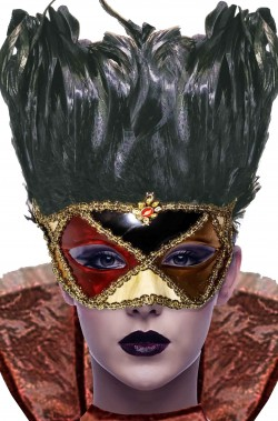 Maschera carnevale veneziano con piume rossa e nera