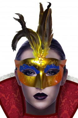 Maschera carnevale veneziano economica di plastica oro e blu con piume