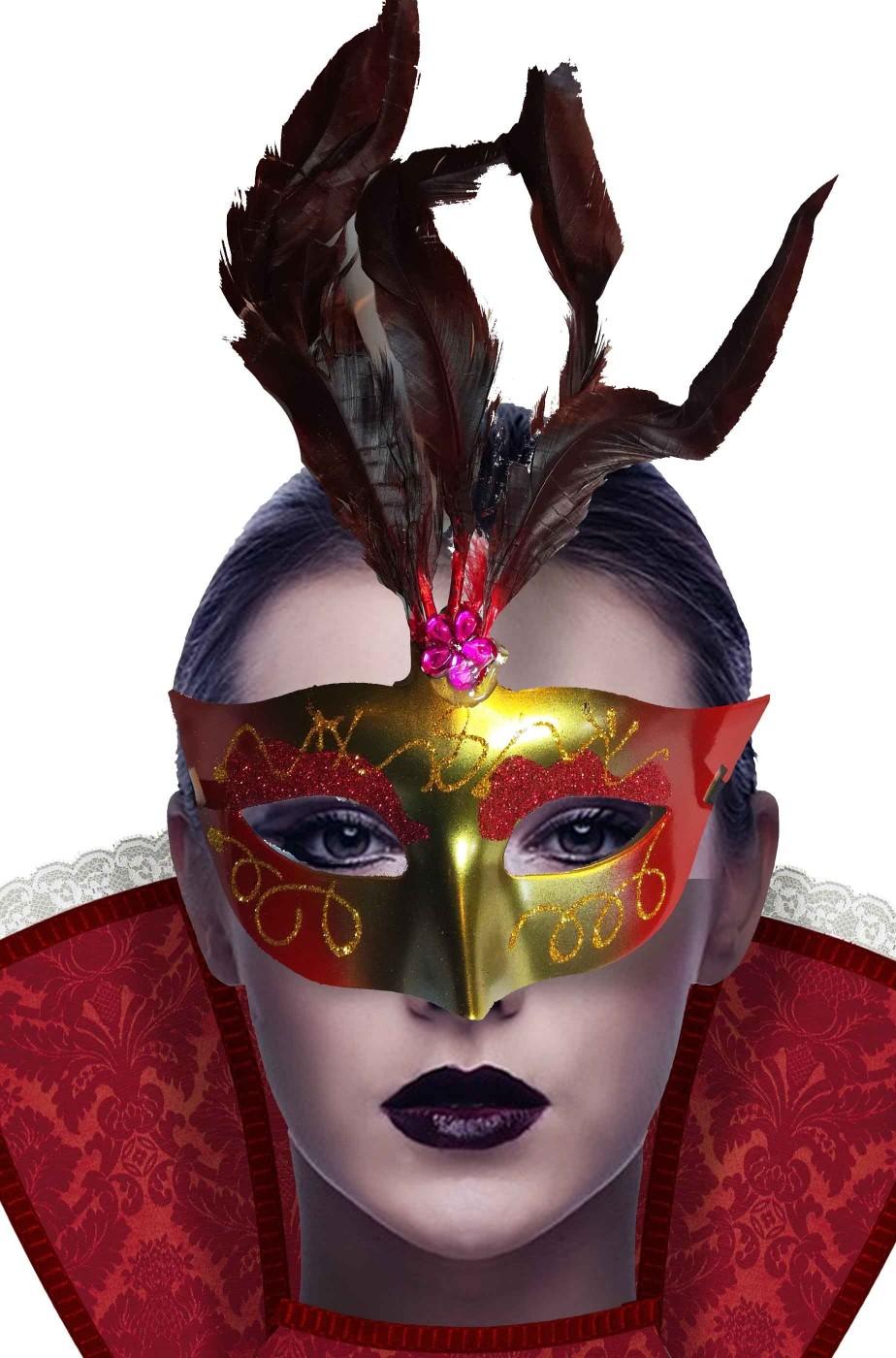 maschera di carnevale veneziano economica oro e rossa con piume