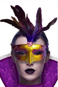 Maschera carnevale veneziano oro e viola economica