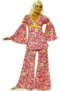 Vestito anni 70 donna rosa con fiori e pantaloni a zampa