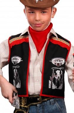 Gilet per vestito di carnevale bambino cowboy nero