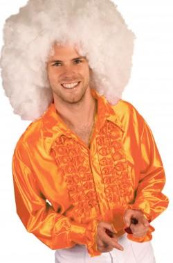 Camicia anni 70 arancione da uomo con rouche