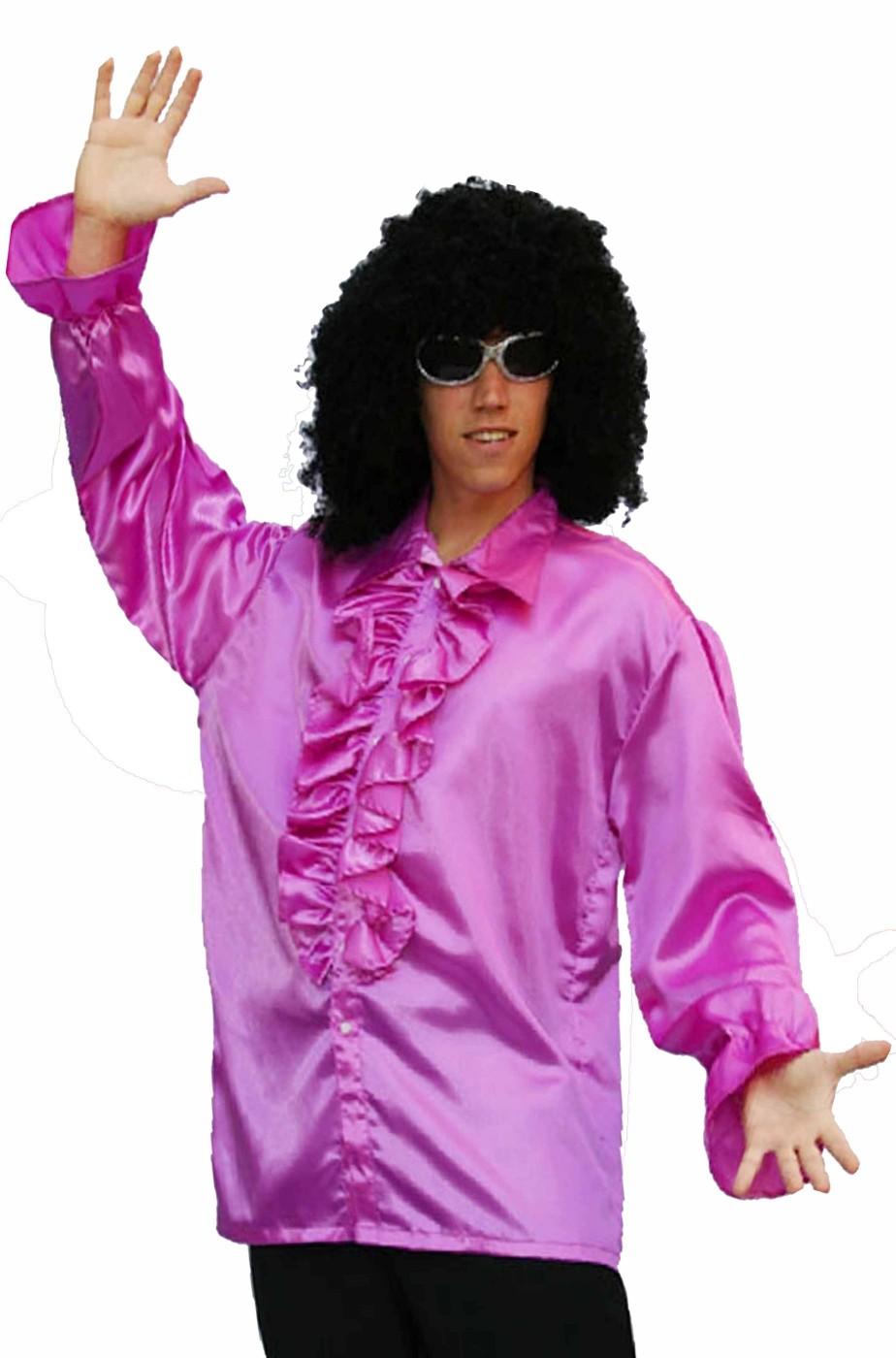 Camicia viola anni 70 da uomo con colletto a punte e jabot