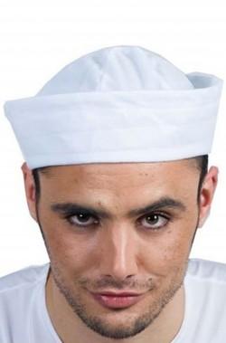 Cappello marinaio adulto rotondo bianco a tamburello