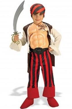 Vestito di carnevale da pirata bambino bucaniere con muscoli