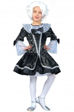 Vestito di carnevale da bambina damina grigia e nera 700 barocca